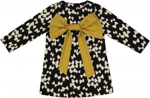 black and white mustard bow dress _High res jpg