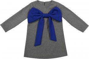 grey pinstripe blue bow dress +1+1_High res jpg